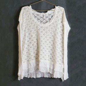 Free People Ivory Round Neck Ruffle Sweater S
